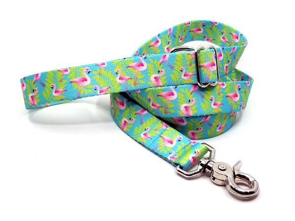 Flamingos Polyester Webbing Adjustable Handle Leash