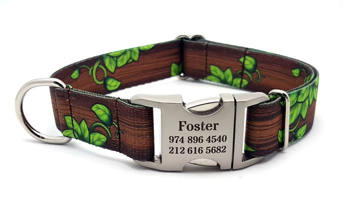 Gaia's Grove Polyester Webbing Dog Collar with Laser Engraved Personalized Buckle