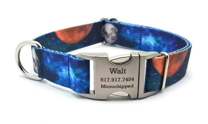 Galactica Polyester Webbing Dog Collar with Laser Engraved Personalized Buckle