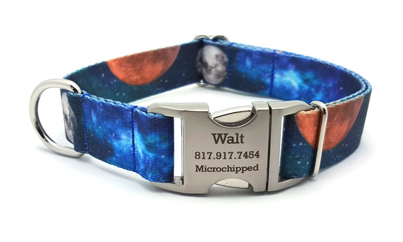 Galactica Polyester Webbing Dog Collar with Laser Engraved Personalized Buckle - Flying Dog Collars
