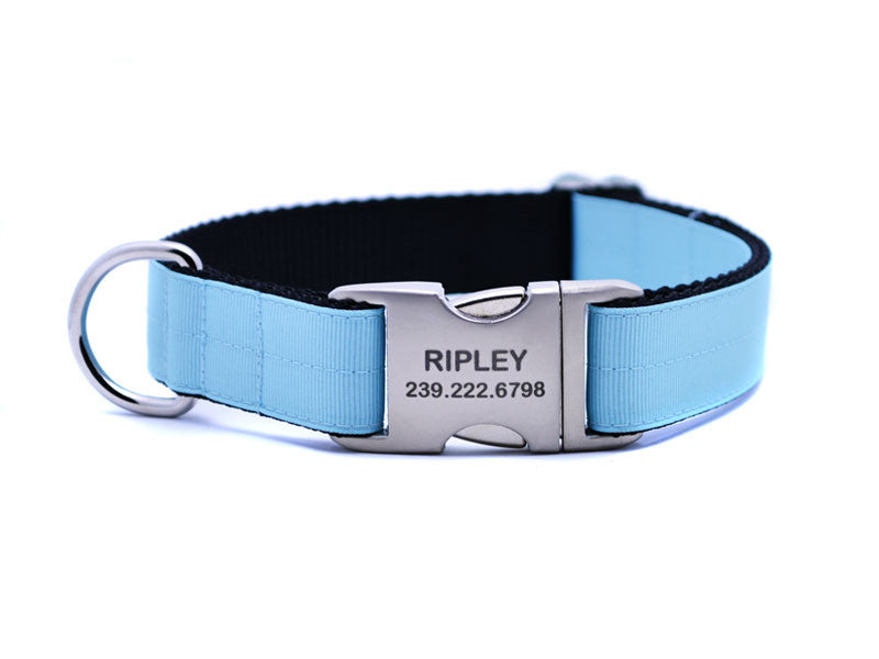 Ribbon & Webbing Dog Collar with Laser Engraved Personalized Buckle - BABY BLUE - Flying Dog Collars