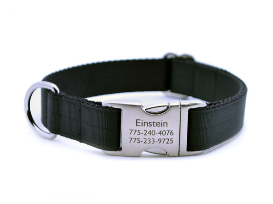 Ribbon & Webbing Dog Collar with Laser Engraved Personalized Buckle - BLACK