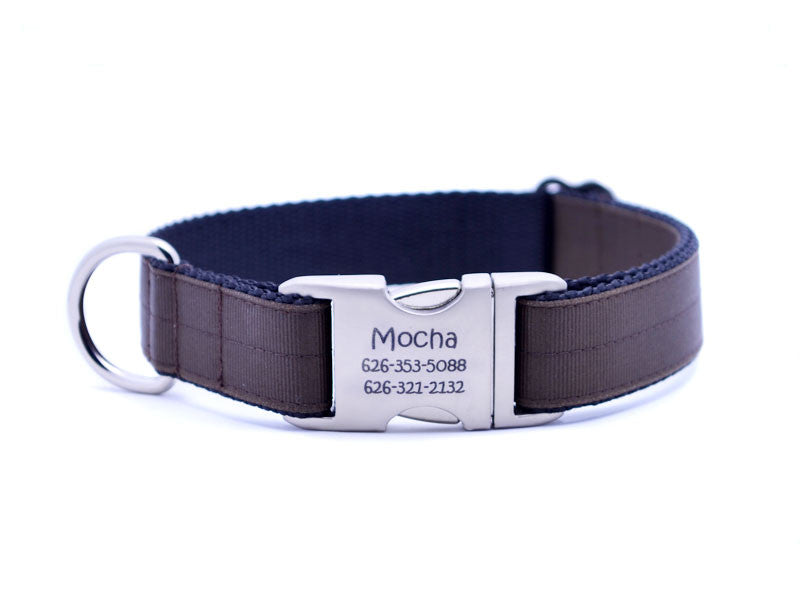 Ribbon & Webbing Dog Collar with Laser Engraved Personalized Buckle - CHOCOLATE - Flying Dog Collars