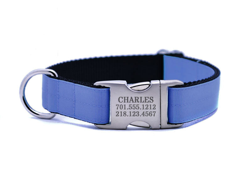 Ribbon & Webbing Dog Collar with Laser Engraved Personalized Buckle - CAPRI BLUE