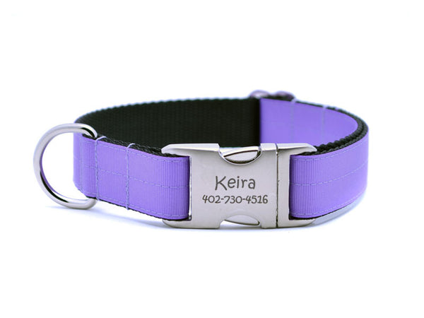 Ribbon & Webbing Dog Collar with Laser Engraved Personalized Buckle - DARK ORCHID - Flying Dog Collars