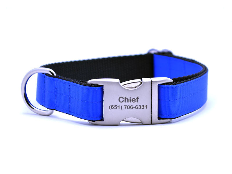 Ribbon & Webbing Dog Collar with Laser Engraved Personalized Buckle - ELECTRIC BLUE - Flying Dog Collars