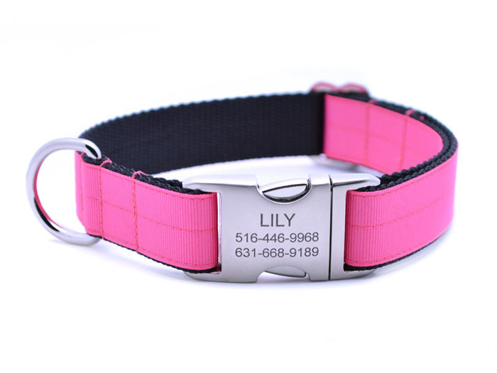 Ribbon & Webbing Dog Collar with Laser Engraved Personalized Buckle - HOT PINK