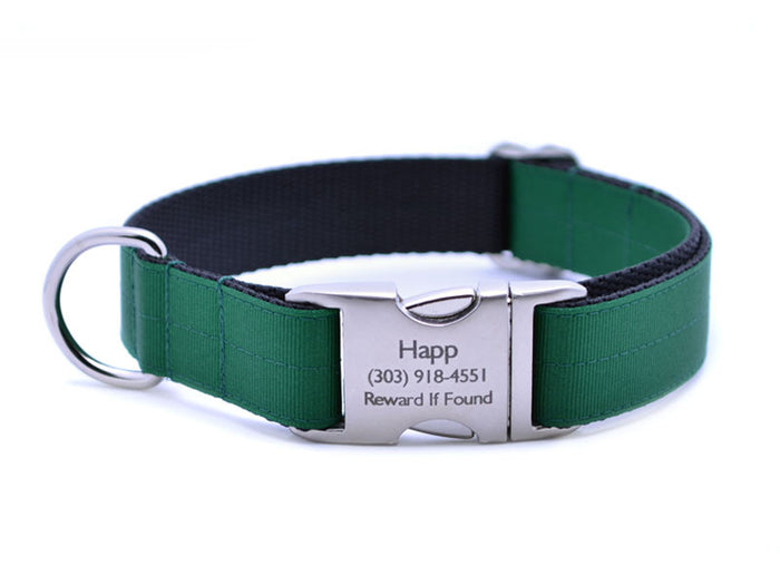 Ribbon & Webbing Dog Collar with Laser Engraved Personalized Buckle - HUNTER GREEN