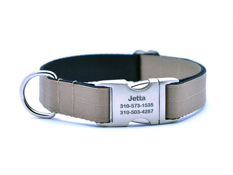 Ribbon & Webbing Dog Collar with Laser Engraved Personalized Buckle - KHAKI