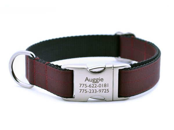 Ribbon & Webbing Dog Collar with Laser Engraved Personalized Buckle - MAROON - Flying Dog Collars