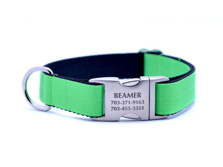 Ribbon & Webbing Dog Collar with Laser Engraved Personalized Buckle - NEON GREEN