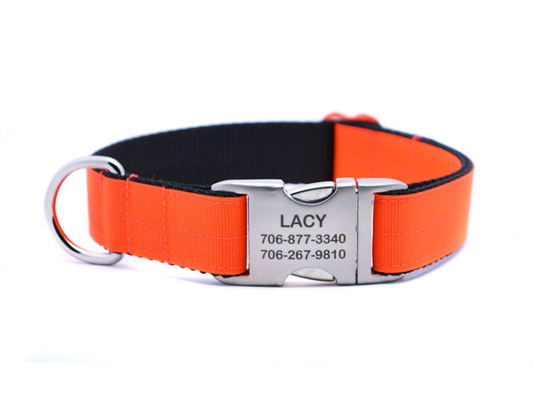 Ribbon & Webbing Dog Collar with Laser Engraved Personalized Buckle - NEON ORANGE - Flying Dog Collars