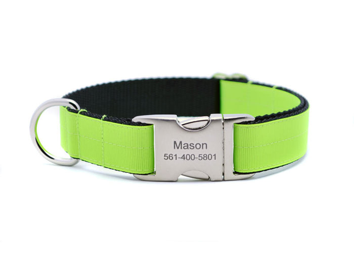 Ribbon & Webbing Dog Collar with Laser Engraved Personalized Buckle - NEON LIME