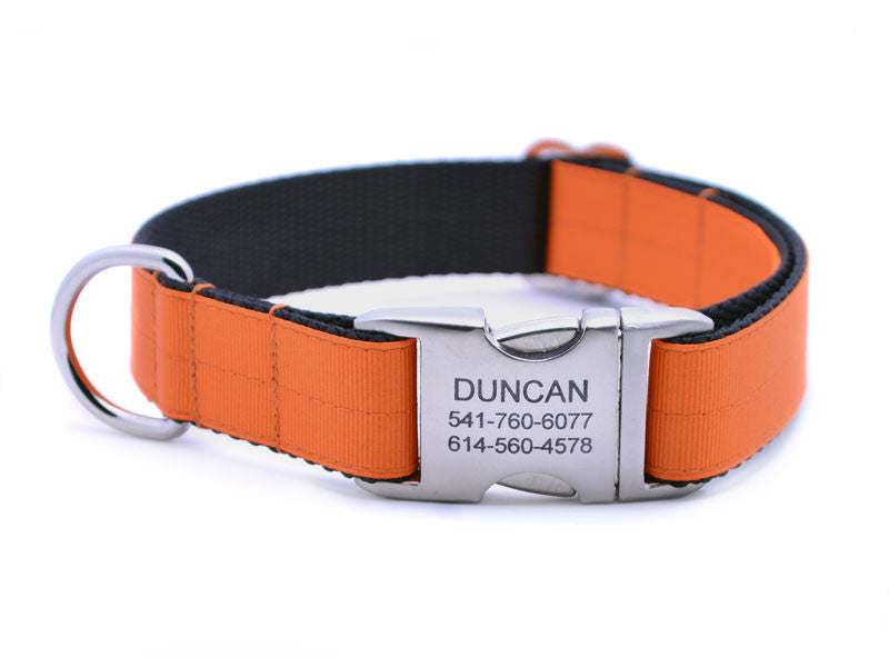 Ribbon & Webbing Dog Collar with Laser Engraved Personalized Buckle - PUMPKIN - Flying Dog Collars