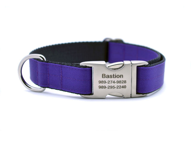 Ribbon & Webbing Dog Collar with Laser Engraved Personalized Buckle - PURPLE - Flying Dog Collars