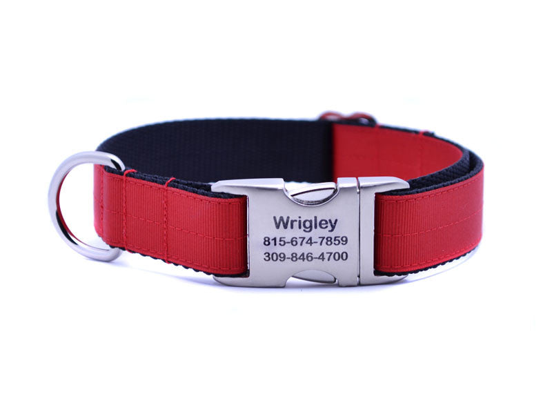 Ribbon & Webbing Dog Collar with Laser Engraved Personalized Buckle - CRIMSON RED - Flying Dog Collars