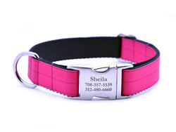 Ribbon & Webbing Dog Collar with Laser Engraved Personalized Buckle - SHOCKING PINK - Flying Dog Collars