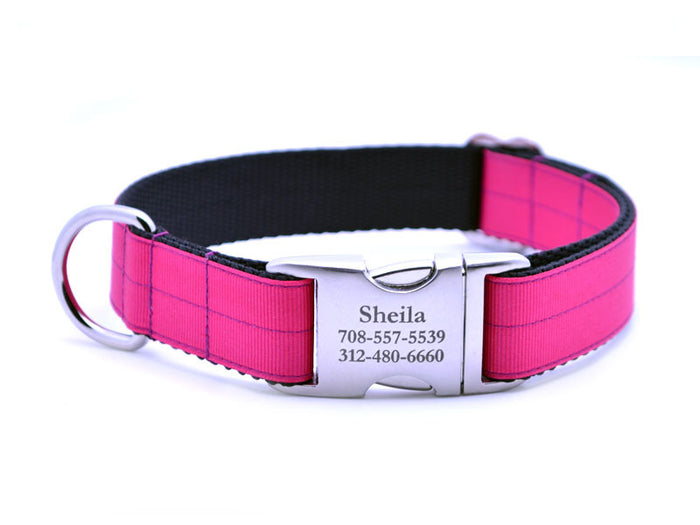 Ribbon & Webbing Dog Collar with Laser Engraved Personalized Buckle - SHOCKING PINK