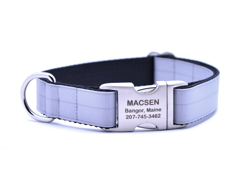 Ribbon & Webbing Dog Collar with Laser Engraved Personalized Buckle - MILLENIUM SILVER - Flying Dog Collars