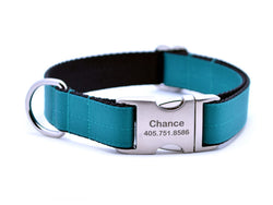 Ribbon & Webbing Dog Collar with Laser Engraved Personalized Buckle - TEAL - Flying Dog Collars