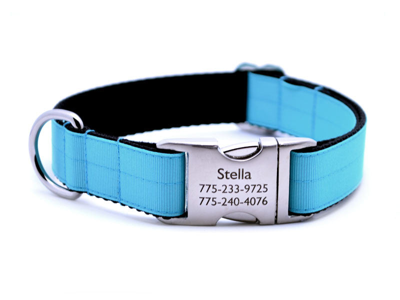 Ribbon & Webbing Dog Collar with Laser Engraved Personalized Buckle - TURQUOISE