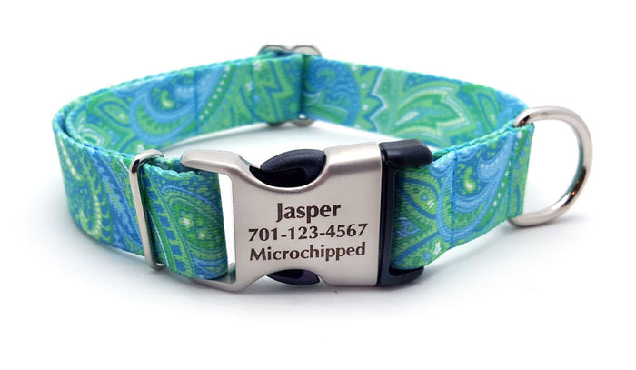 Green & Blue Paisley Polyester Webbing Dog Collar with Laser Engraved Personalized Buckle