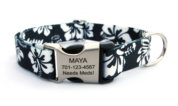 The Hawaiian Polyester Webbing Dog Collar with Laser Engraved Personalized Buckle - BLACK - Flying Dog Collars