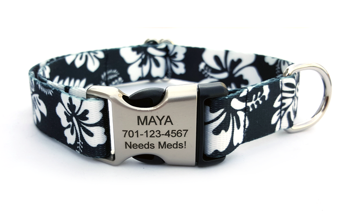 The Hawaiian Polyester Webbing Dog Collar with Laser Engraved Personalized Buckle - BLACK
