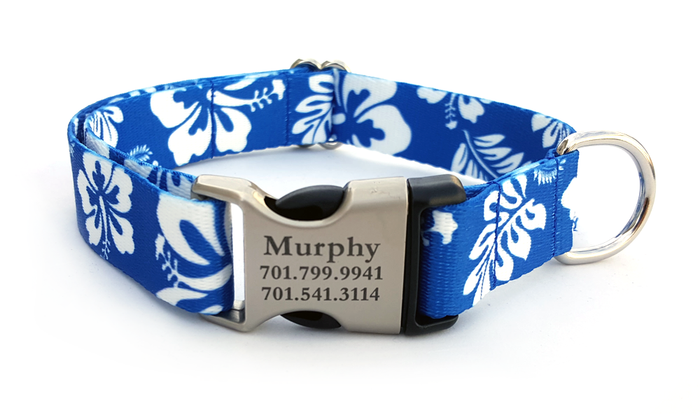 The Hawaiian Polyester Webbing Dog Collar with Laser Engraved Personalized Buckle - ROYAL BLUE
