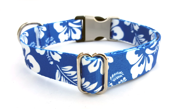 The Hawaiian Polyester Webbing Dog Collar with Laser Engraved Personalized Buckle - ROYAL BLUE - Flying Dog Collars