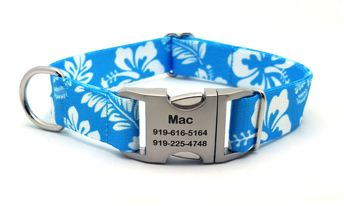 The Hawaiian Polyester Webbing Dog Collar with Laser Engraved Personalized Buckle - Light Blue
