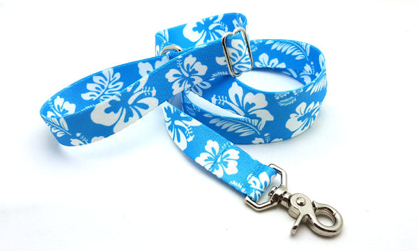 Hawaiian Light Blue Adjustable Handle Leash