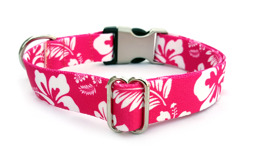 The Hawaiian Polyester Webbing Dog Collar with Laser Engraved Personalized Buckle - PINK