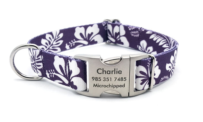 The Hawaiian Polyester Webbing Dog Collar with Laser Engraved Personalized Buckle - Purple