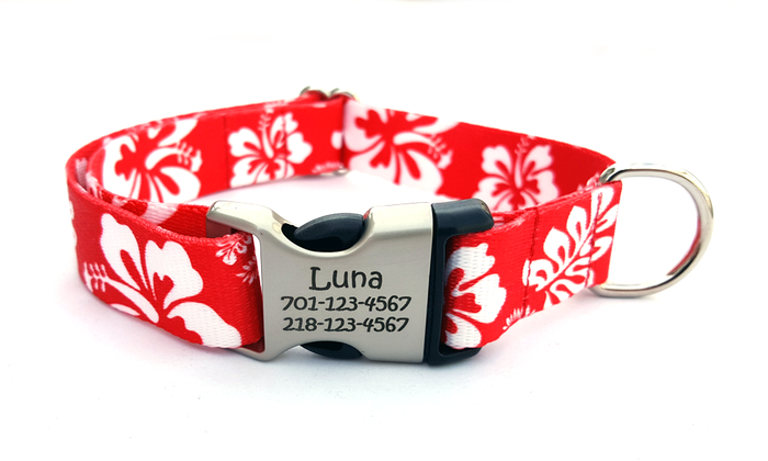 The Hawaiian Polyester Webbing Dog Collar with Laser Engraved Personalized Buckle - RED