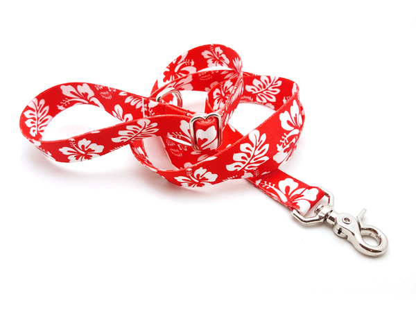 Hawaiian Red Adjustable Handle Leash