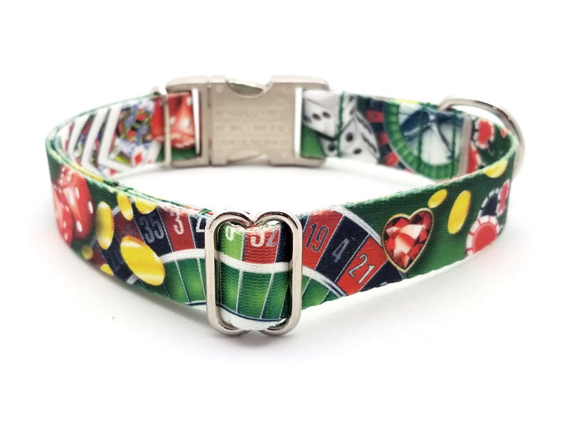 High Roller Polyester Webbing Dog Collar with Laser Engraved Personalized Buckle