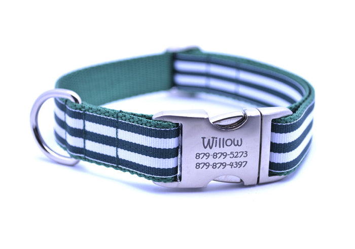 Cabana Stripe Dog Collar with Laser Engraved Personalized Buckle - HUNTER - Flying Dog Collars