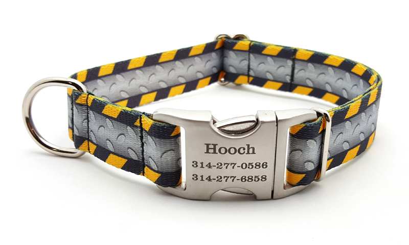 Industrial Ramp Polyester Webbing Dog Collar with Laser Engraved Personalized Buckle