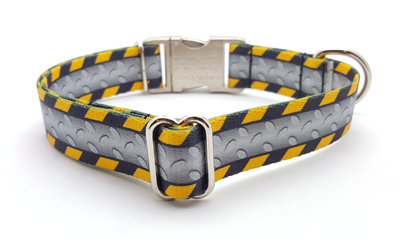 Industrial Ramp Polyester Webbing Dog Collar with Laser Engraved Personalized Buckle - Flying Dog Collars