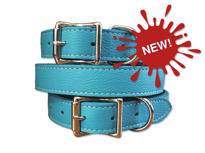 Italian Leather Dog Collar with Laser Engraved Nameplate - $36-$49 - Flying Dog Collars