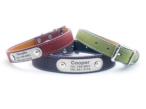 Italian Leather Dog Collar with Laser Engraved Nameplate - 11 Colors