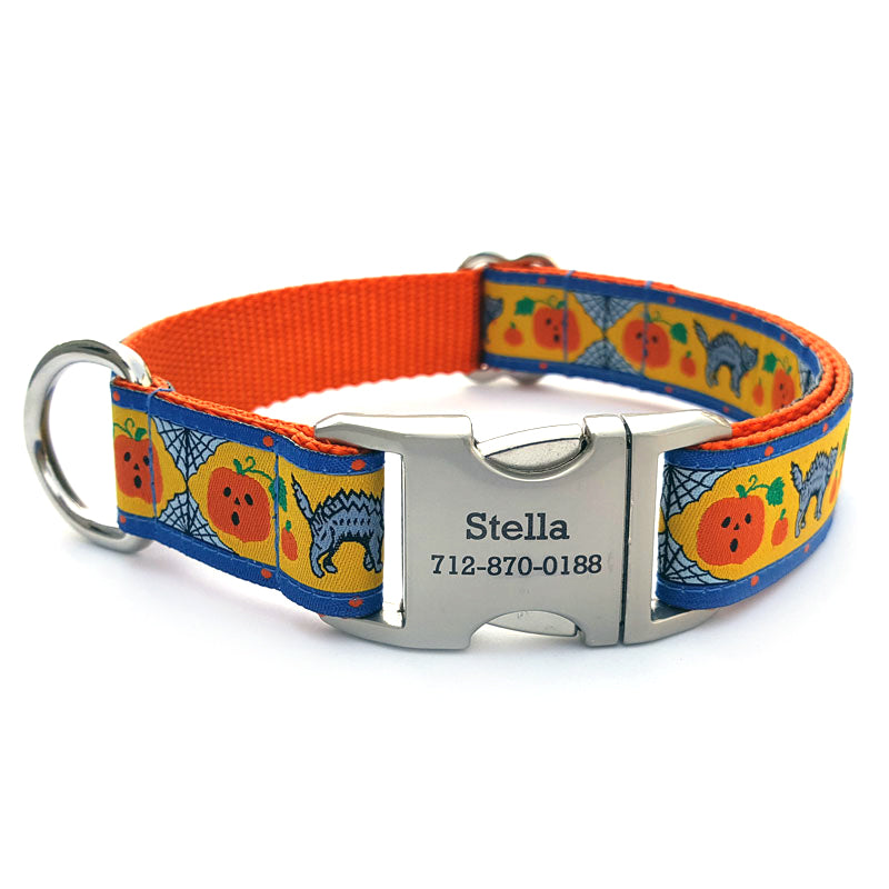 Jack-n-Cat Dog Collar with Personalized Buckle - Flying Dog Collars