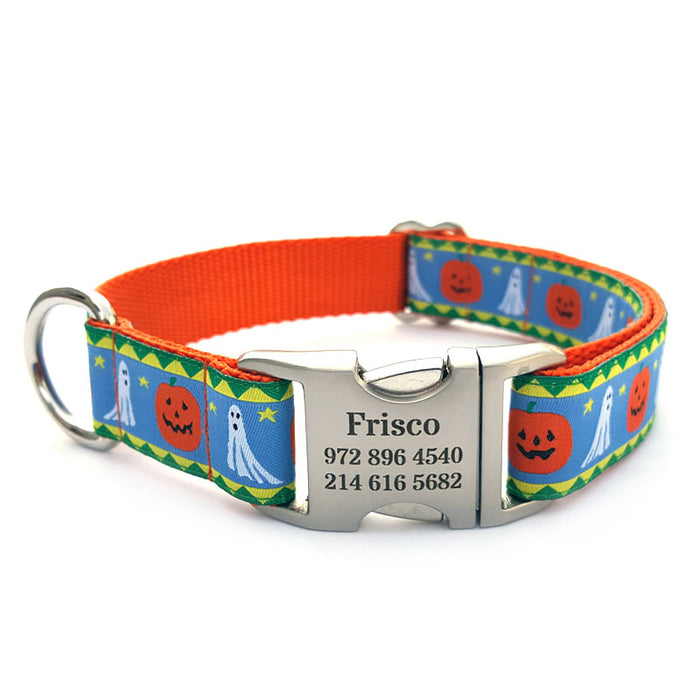 Jack-n-Ghost Dog Collar with Personalized Buckle
