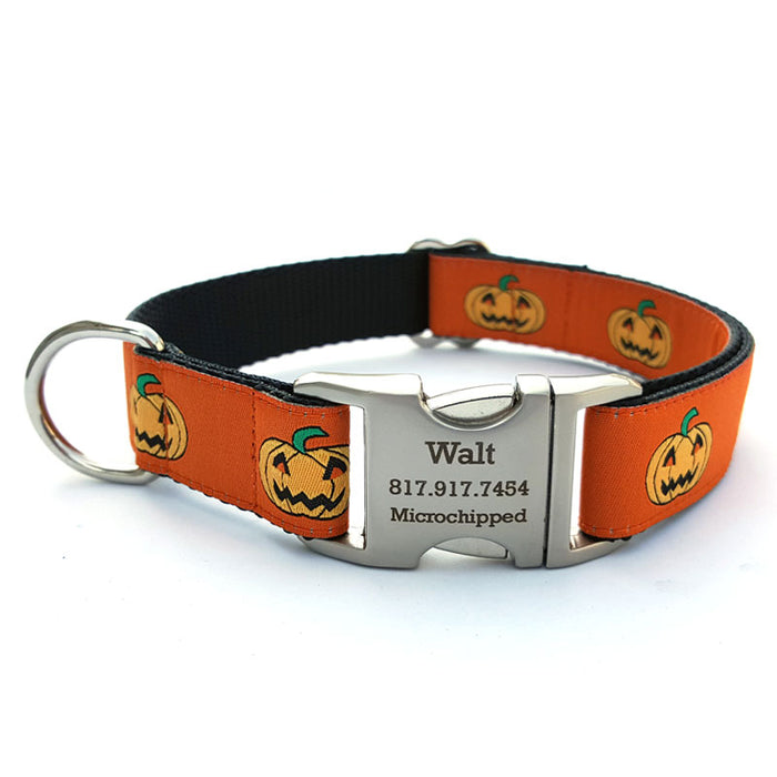 Jack-O-Lantern Dog Collar with Personalized Buckle