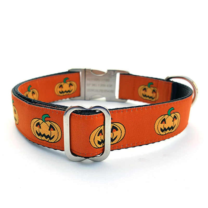 Jack-O-Lantern Dog Collar with Personalized Buckle - Flying Dog Collars