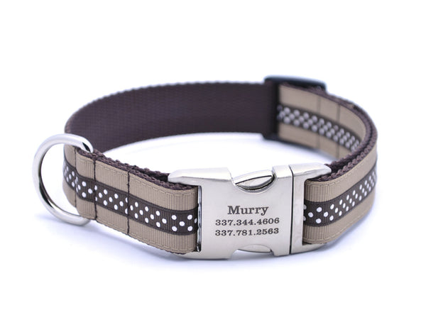Khaki/Chocolate Mini Polka Dot Dog Collar with Laser Engraved Personalized Buckle - Flying Dog Collars
