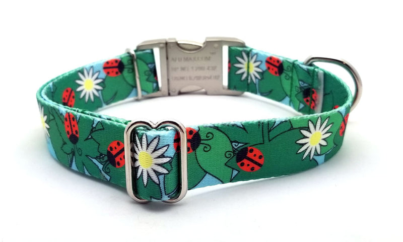 Ladybugs & Daisies Polyester Webbing Dog Collar with Laser Engraved Personalized Buckle - Flying Dog Collars