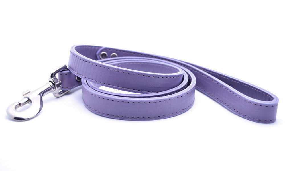Leather Dog Collar with Laser Engraved Personalized Nameplate - LAVENDER