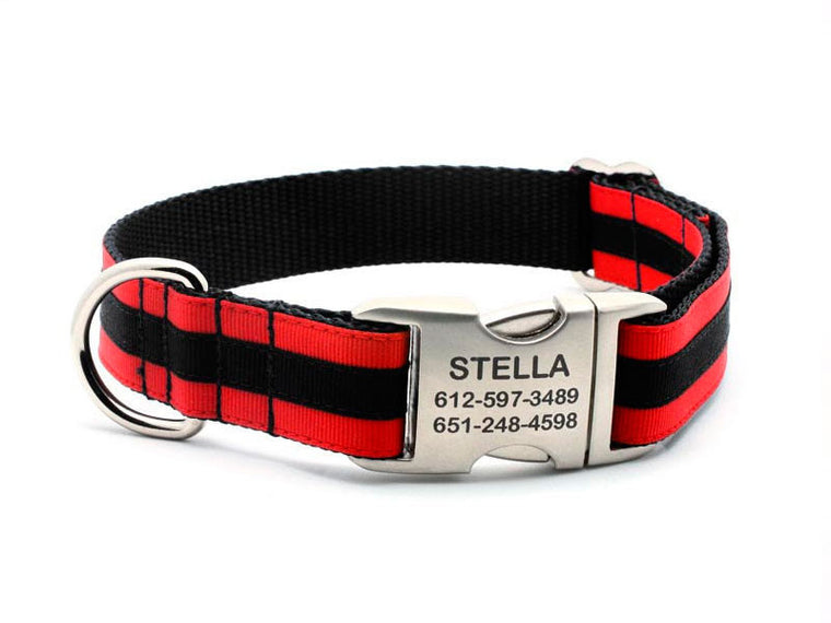 Layered Stripe Dog Collar with Laser Engraved Personalized Buckle - RED/BLACK